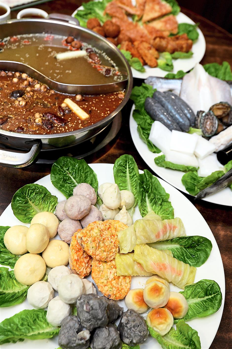 3 Three are three types of soups and a variety of meat and vegetarian options to choose from.