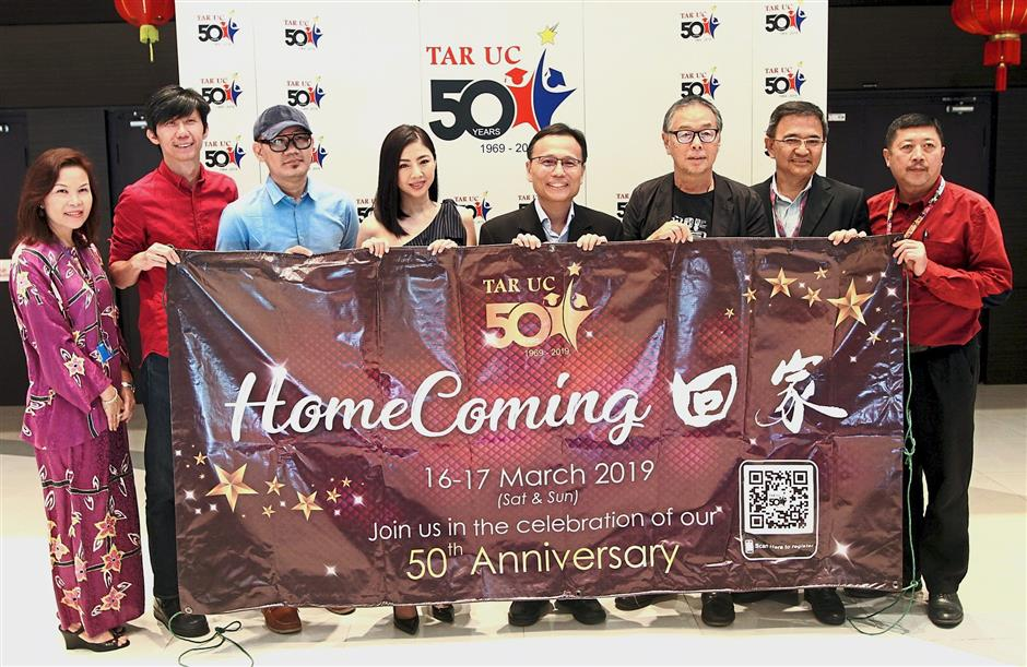 Golden anniversary: Prof Lee (centre) with (from second left) Choong, Chong and Chow (third from right) as well as others during the press conference at TAR UC campus.