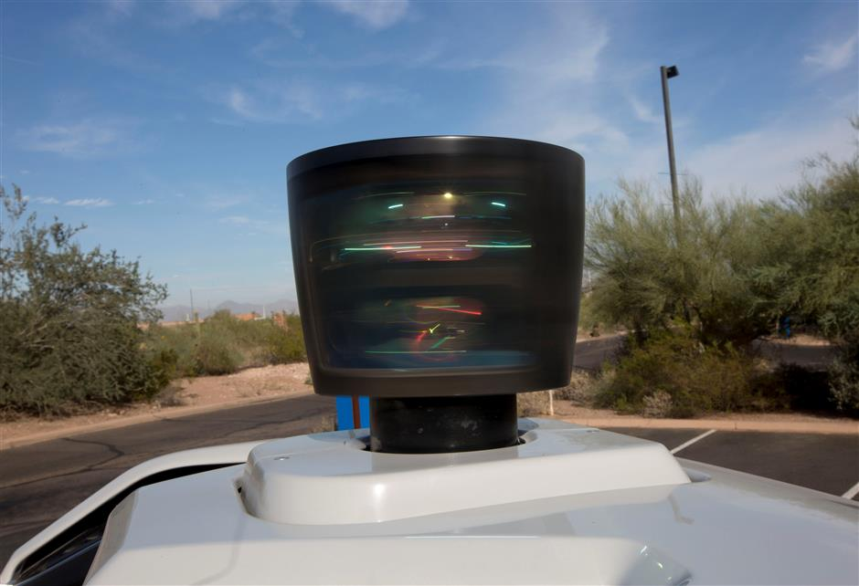 The lidar sensor is seen on a self driving Volvo vehicle, purchased by Uber, Phoenix, Arizona, U.S., December 1, 2017.  Photo taken on December 1, 2017.  REUTERS/Natalie Behring