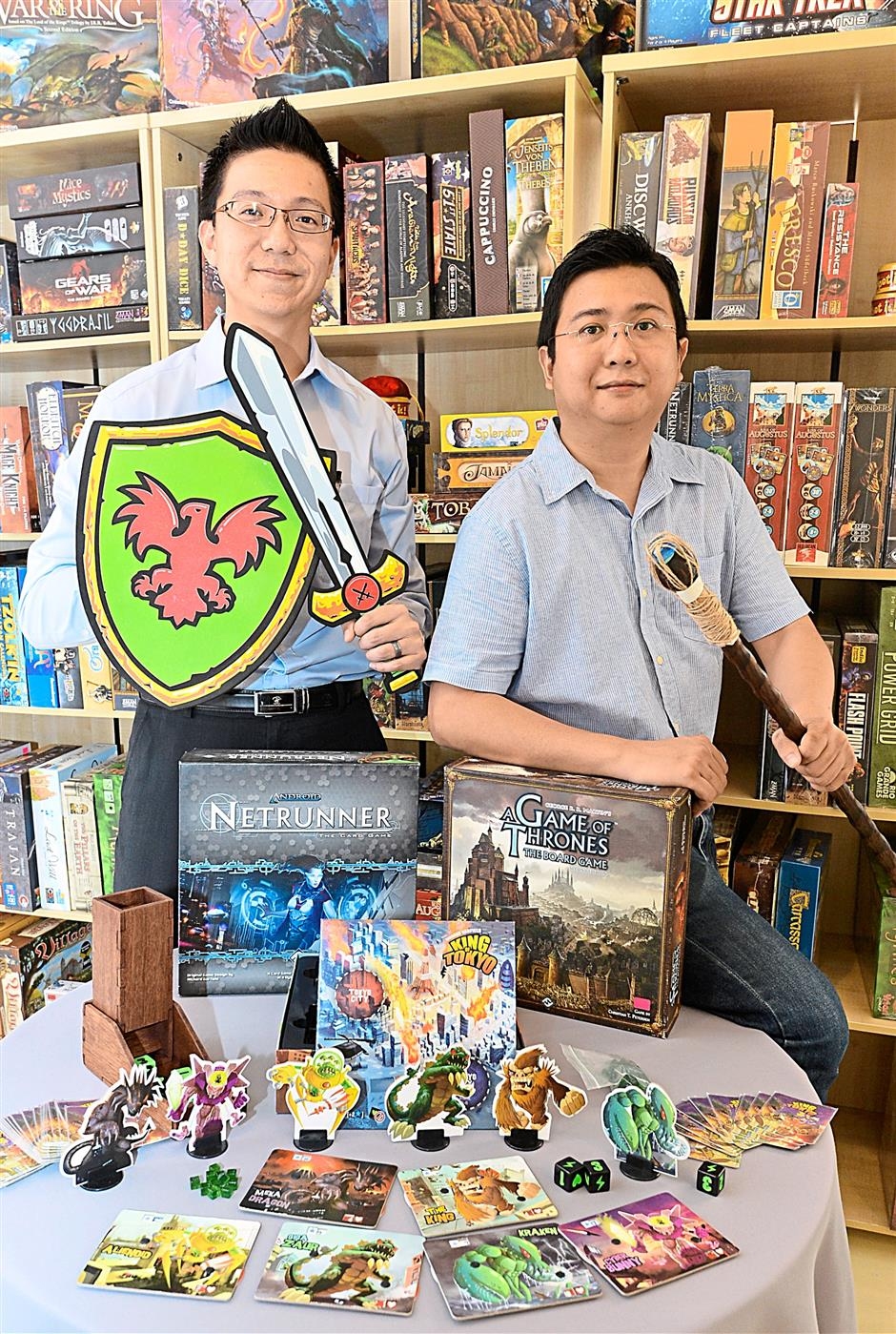 Unusual business model: Yu (left) and Lye, co-founders of All Aboard Community Gaming Centre in Damansara Jaya, set up the shop with the belief that there is a market for board games in Malaysia and it is slowly growing.