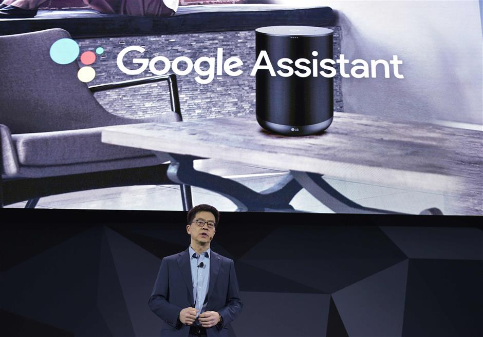 LG Electronics President and CTO I.P. Park speaks during the LG press conference at the Mandalay Bay Convention Center during CES 2018 in Las Vegas on January 8, 2018.  / AFP PHOTO / MANDEL NGAN