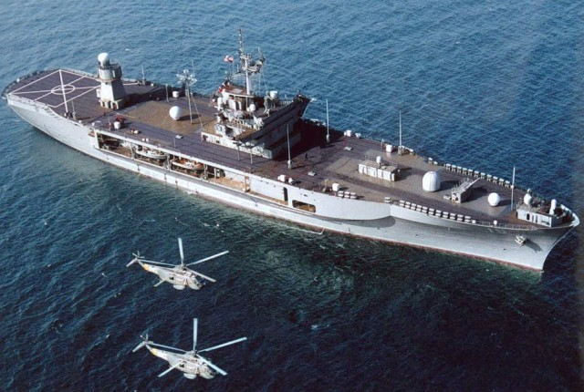 A file picture of the United States' 7th Fleet Flagship, the USS Blue Ridge.