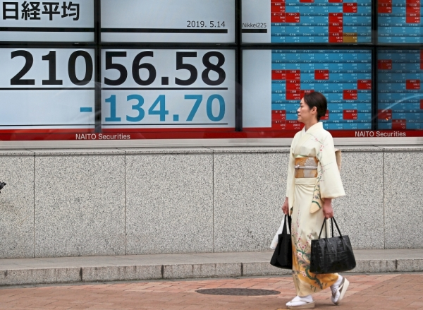 Lower close: A Japanese woman walks past an electronic board showing the Nikkei stock index outside a brokerage in Tokyo. Asian markets were largely lower following Dow Jonesu2019 overnight steep fall.  u2014 Reuters