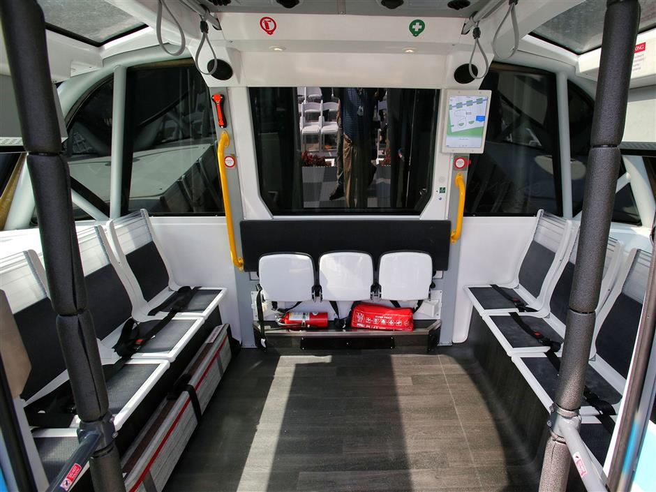An interior view after the reveal of the Beep AUTONOM Shuttle, during a ceremony at Lake Nona Town Center, Tuesday, Feb. 19, 2019. (Joe Burbank/Orlando Sentinel/TNS)