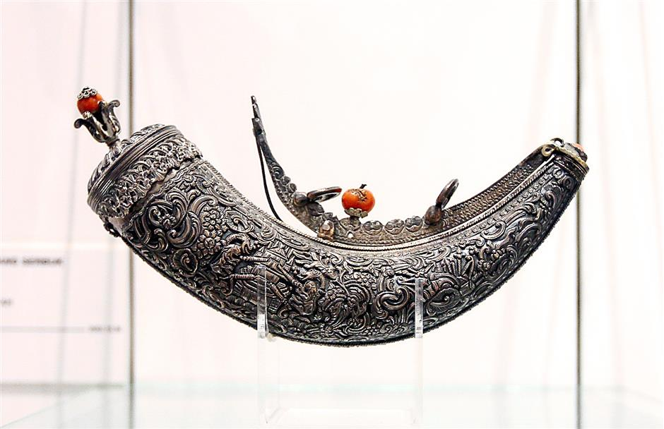 Powder flask from Ottoman Turkey (19th century AD /13th century AH_ exhibited at the Arms and Armour Gallery at Islamic   Arts Museum Malaysia in Jalan Lembah Perdana, Kuala Lumpur.