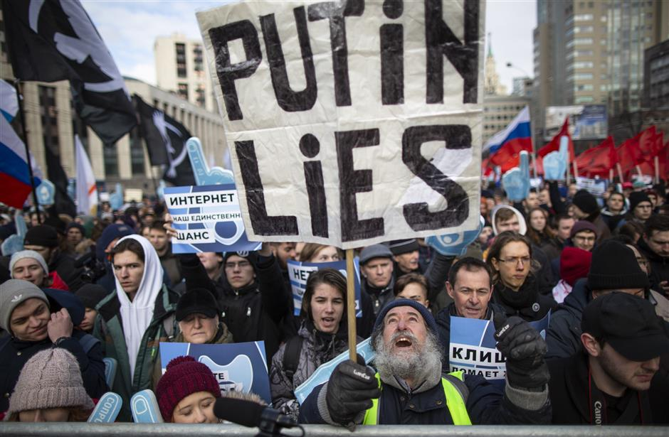 Demonstrators attend the Free Internet rally in response to a bill making its way through parliament calling for all internet traffic to be routed through servers in Russia u2014 making VPNs (virtual private networks) ineffective, in Moscow, Russia, Sunday, March 10, 2019.Several thousand people have rallied in Moscow to protest legislation that they fear could lead to widespread censorship of the internet for Russian users. (AP Photo/Alexander Zemlianichenko)