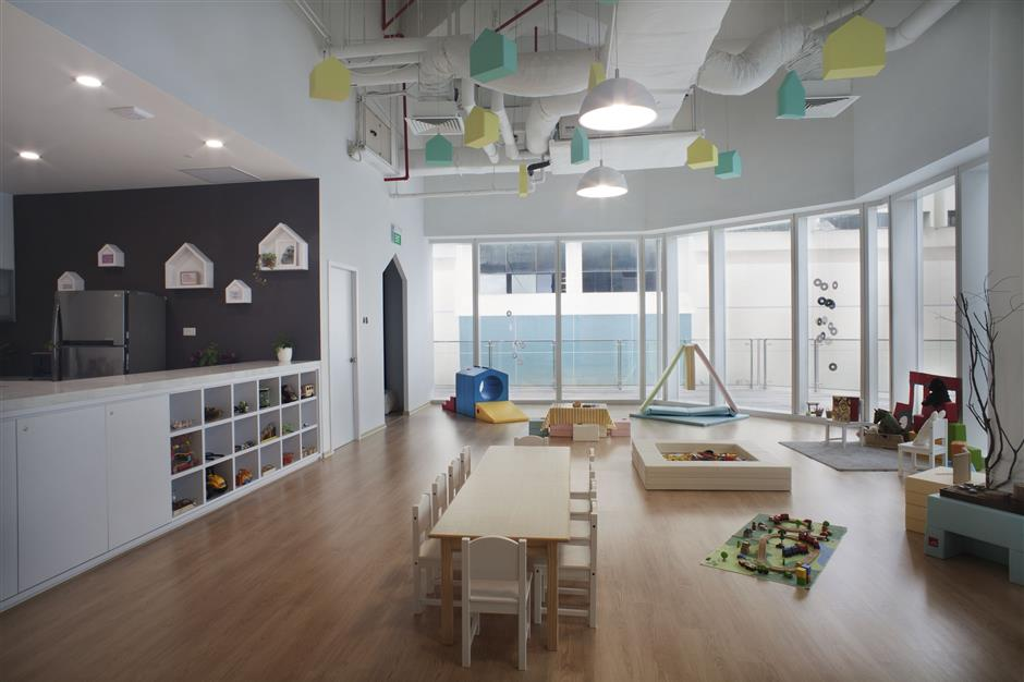The unique aspect of Trehaus is that the co-working space also features a play area for the members kids.