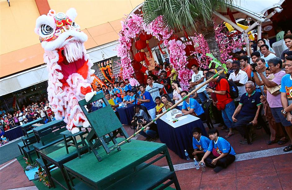 Roaring good show: The champion team from Penang Meihu Culture and Sports Association (Team B) wowing the crowd during the Prangin Mall Traditional Lion Dance Penang Championship at the mall's outdoorLandscape A.