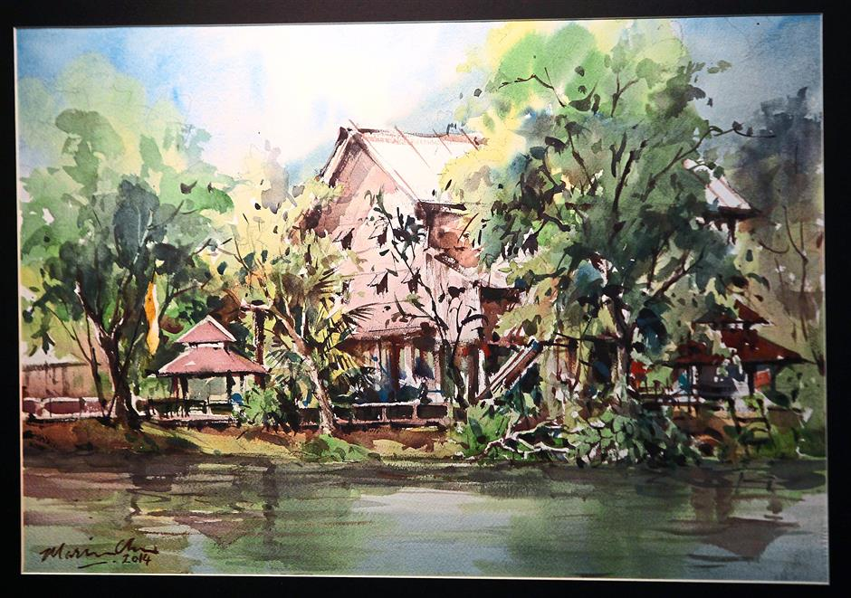 A painting of the Sarawak Cultural Village's Melanau house by Marvin Chew.