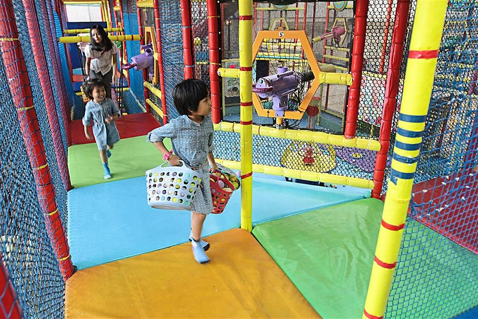 Kids playing at indoor playground in One Utama Shopping Mall at Damansara on April 15, 2014. FAIHAN GHANI/The Star.