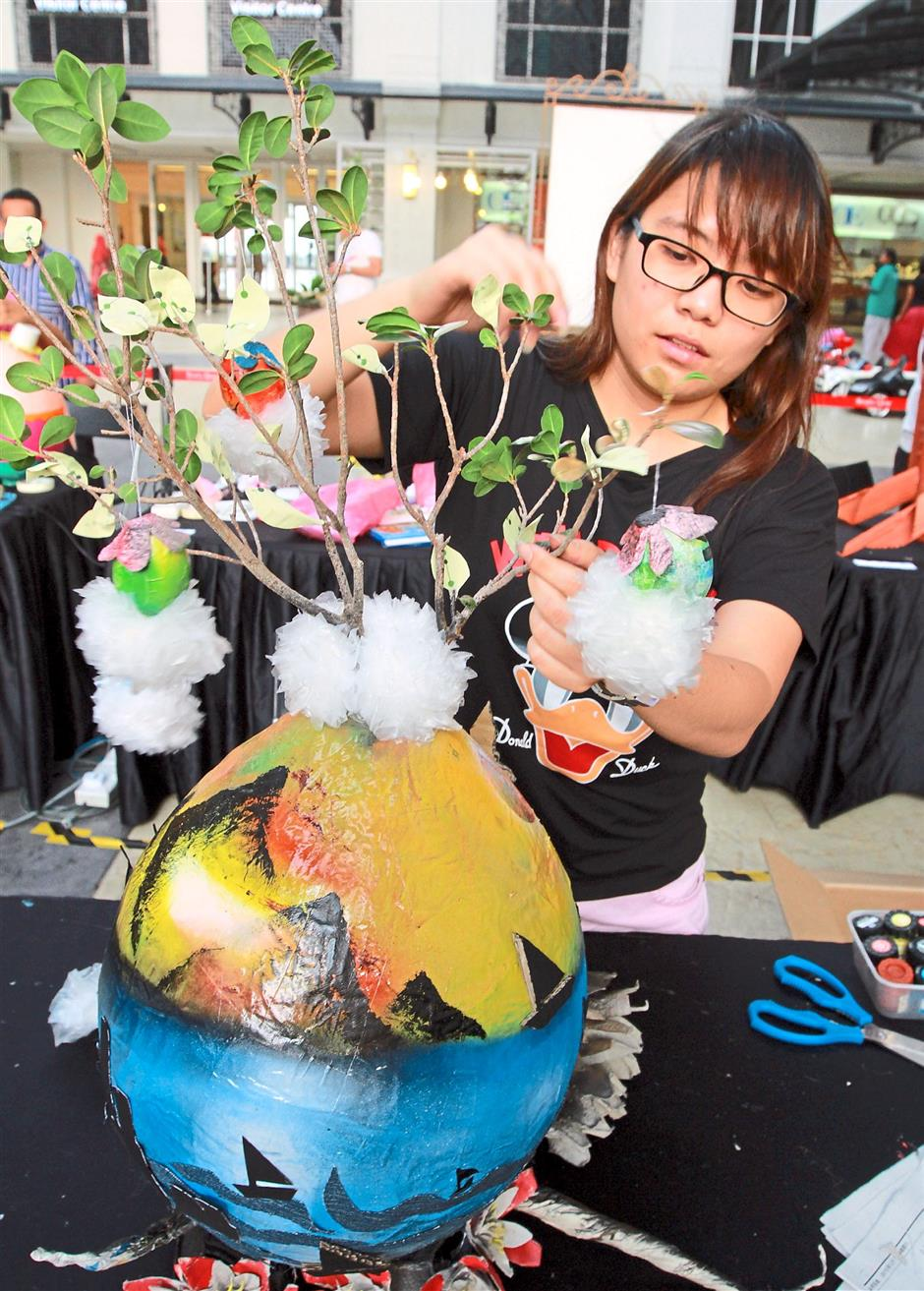 Giant Easter egg design competition entry at Straits Quay Retail Marina on 21/03/15 (CHARLES MARIASOOSAY/ The Star/21/Mac/2015)
