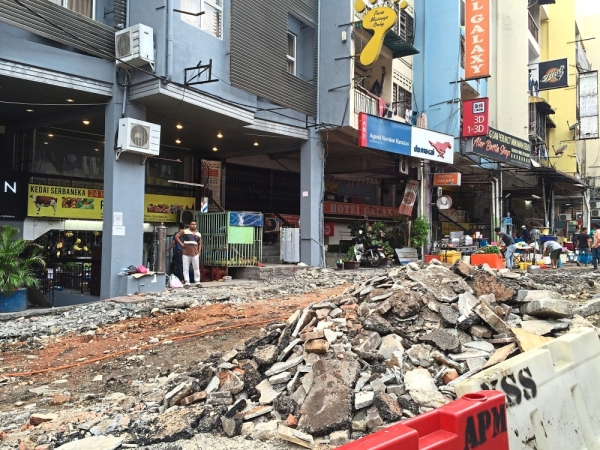 The second phase of the Jalan Alor upgrading project by DBKL is underway.