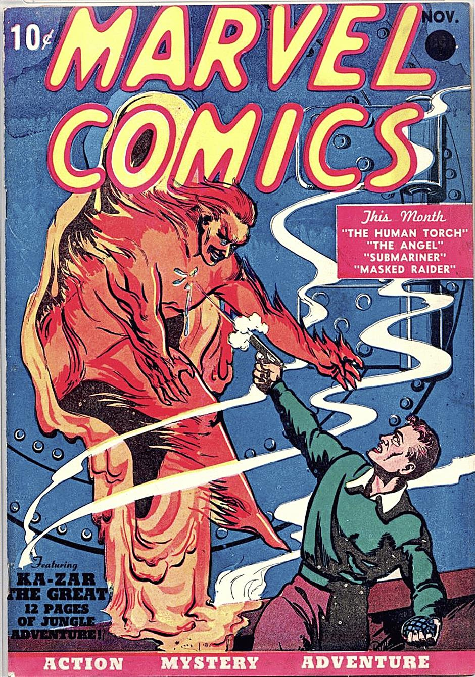 The cover of October 1939¿'s Marvel Comics #1 (published by Timely Comics, the precursor to Marvel Comics), which contained Namor¿'s first official appearance, together with the original Human Torch, Jim Hammond.