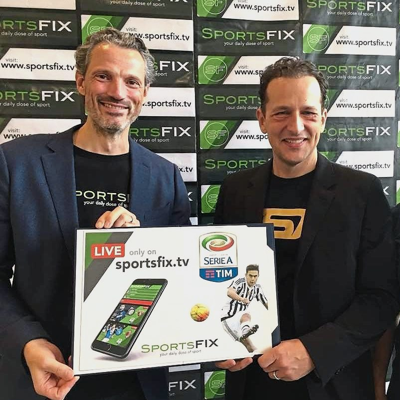 Sportsfix chief executive officer Carl Kirchhoff (left) and Luer during the launch of Serie A on Sportsfix at the National Stadium, KL Sports City.