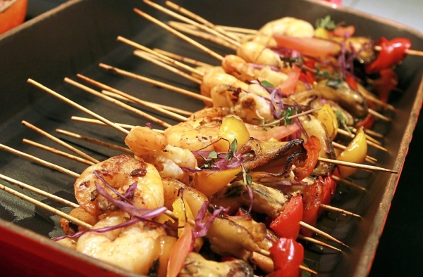 Grilled Seafood Brochettes with Spicy Dip and Cumin Powder, from the Western section.