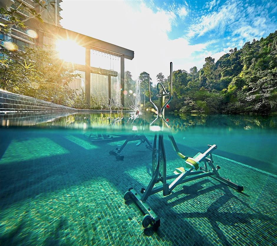 The aqua gym is one of Alila2's many 5-star facilities that would rival top luxury resorts.