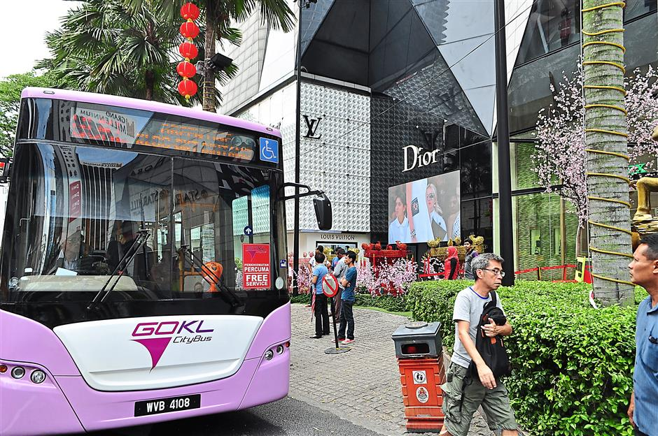 Popular: The Go KL line, seen at its stop at Sephora in Jalan Bukit Bintang, is hugely popular for giving out free rides. — filepic