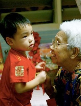 Kee Ah Hun with great-grandson Adriel Ding, in a photo taken during Chinese New Year last year.