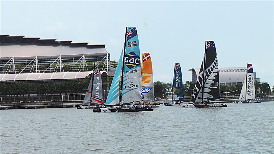 The catamarans lining up during the Extreme Sailing Series 2014 (Act 1) at Singapore's Marina Bay recently.