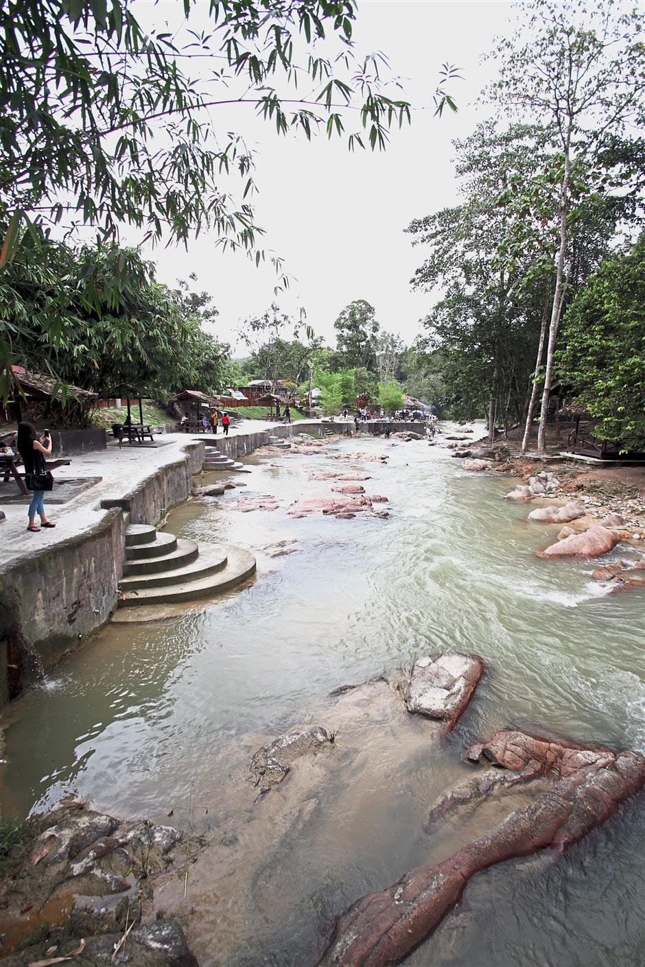 The scenic river that flows through the Lubuk Timah Hotsprings and Recreational Centre in Simpang Pulai.