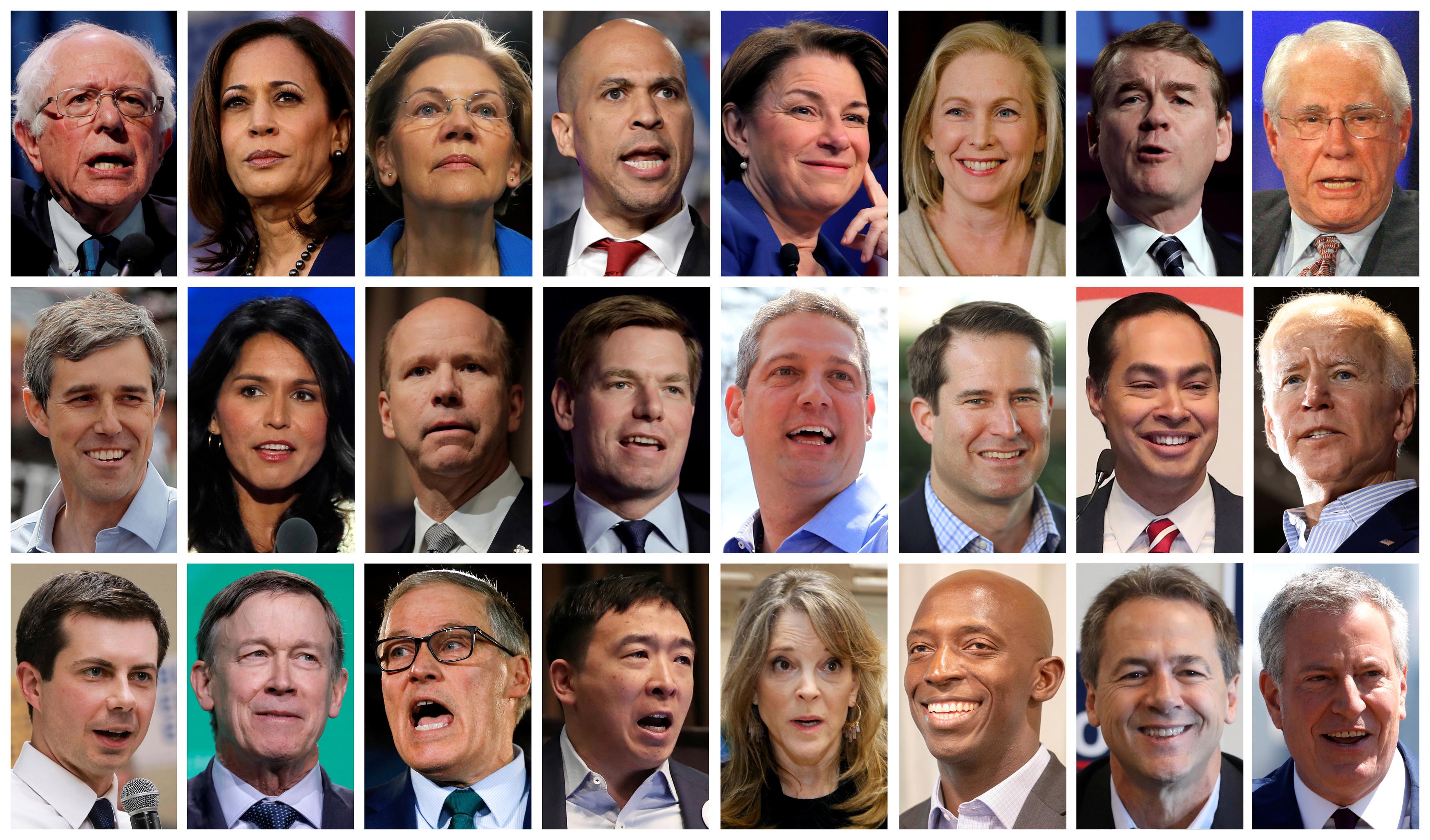 FILE PHOTO: Twenty four 2020 Democratic presidential candidates are seen in a combination from file photos (L-R top row): U.S. Senators Bernie Sanders, Kamala Harris, Elizabeth Warren, Cory Booker, Amy Klobuchar, Kirsten Gillibrand, Michael Bennet and former U.S. Senator Mike Gravel. (L-R middle row): Former Texas congressman Beto O'Rourke, U.S. Representatives Tulsi Gabbard, John Delaney, Eric Swalwell, Tim Ryan, Seth Moulton, former HUD Secretary Julian Castro and former U.S. Vice President Joe Biden. (L-R bottom row): Mayor Pete Buttigieg, Former Gov. John Hickenlooper, Gov. Jay Inslee, Andrew Yang, Marianne Williamson, Mayor Wayne Messam, Montana Gov. Steve Bullock and New York City Mayor Bill de Blasio.   REUTERS/Files