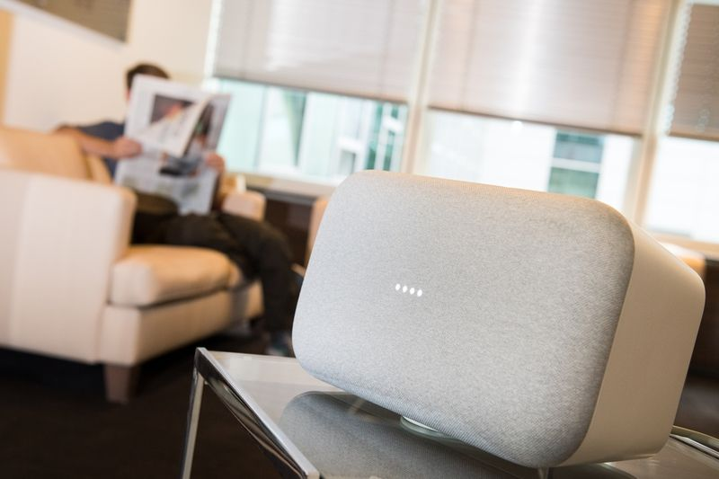 Smart speakers like the Google Home Max bring the promise of never again having to get up from the couch to put music on. u2014 dpa