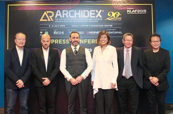(From left) Lim, Roca Malaysia Sdn Bhd managing director Diego Jolis, Larsen Global Shoplight Sdn Bhd managing director Martin Michael Varga, Tay, Artwright group chief executive officer and managing director Yong Yoke Keong and Dr Tan at the Archidex 2019 press conference in Kuala Lumpur Convention Centre.