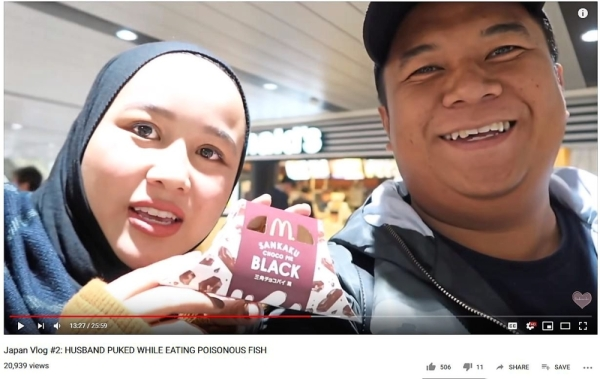 As an Instagram husband, Afif said he has become used to helping Farhanah create content for multiple platforms. During a holiday in Japan, Afif was a part of the video-logging experience that involved trying food unique to the country. — YouTube