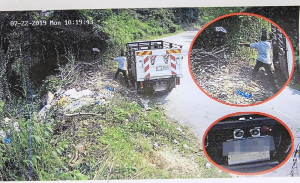 Incidents of illegal dumping caught by CCTVs installed at Jalan KPB12 in Balakong. (Right) MPKj clearing the illegal dumpsite.