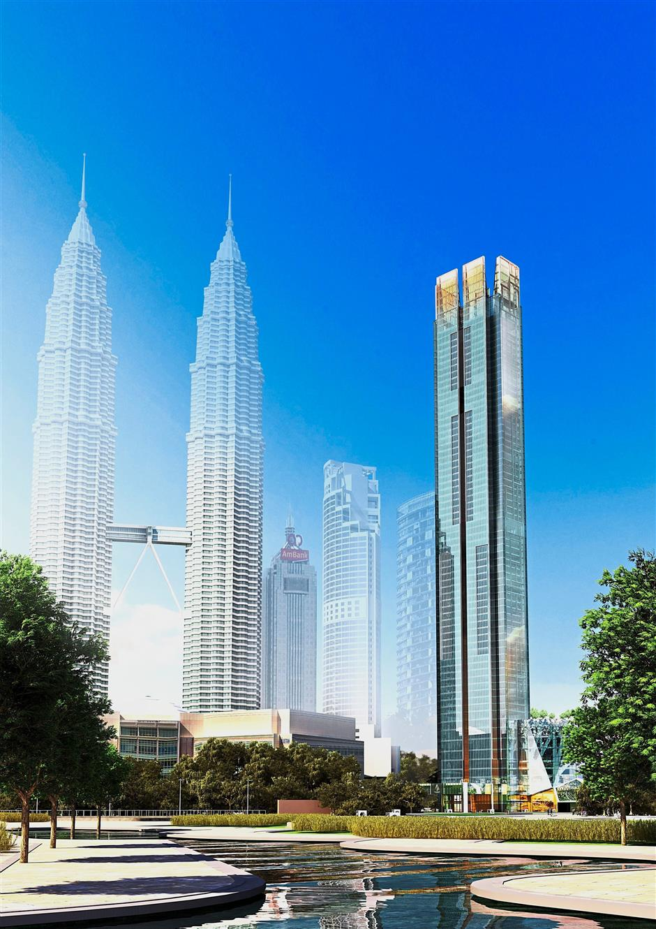Artist's impression of the completed Four Seasons Place tower next to the Petronas Twin Towers.