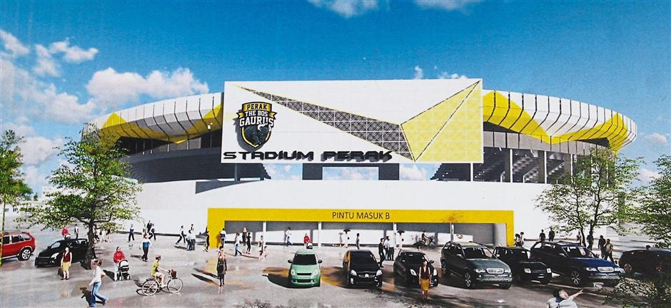 An artist's impression of the Perak Stadium's facade. The stadium will be reopened on April 29.