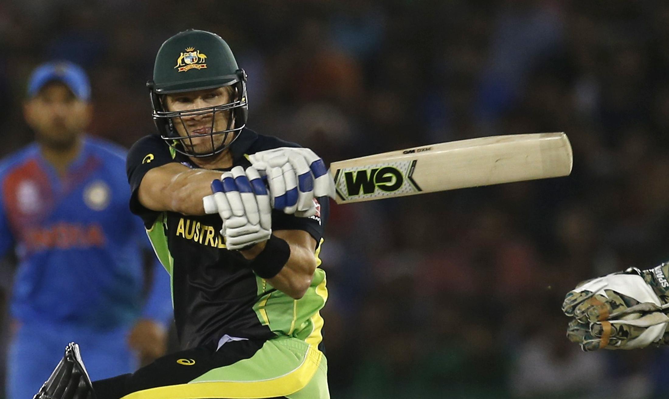 FILE PHOTO: Cricket - India v Australia - World Twenty20 cricket tournament - Mohali, India - 27/03/2016. Australia's Shane Watson plays a shot. REUTERS/Adnan Abidi