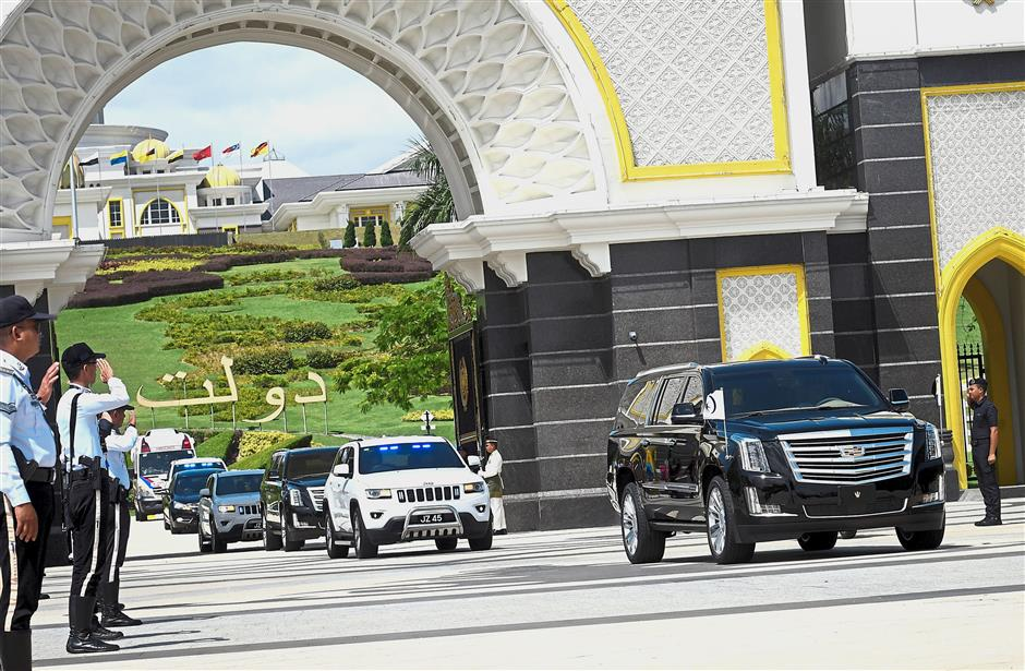 Royal exit: Sultan Ibrahim's convoy leaving Istana Negara after the Special Meeting of Rulers. — Bernama