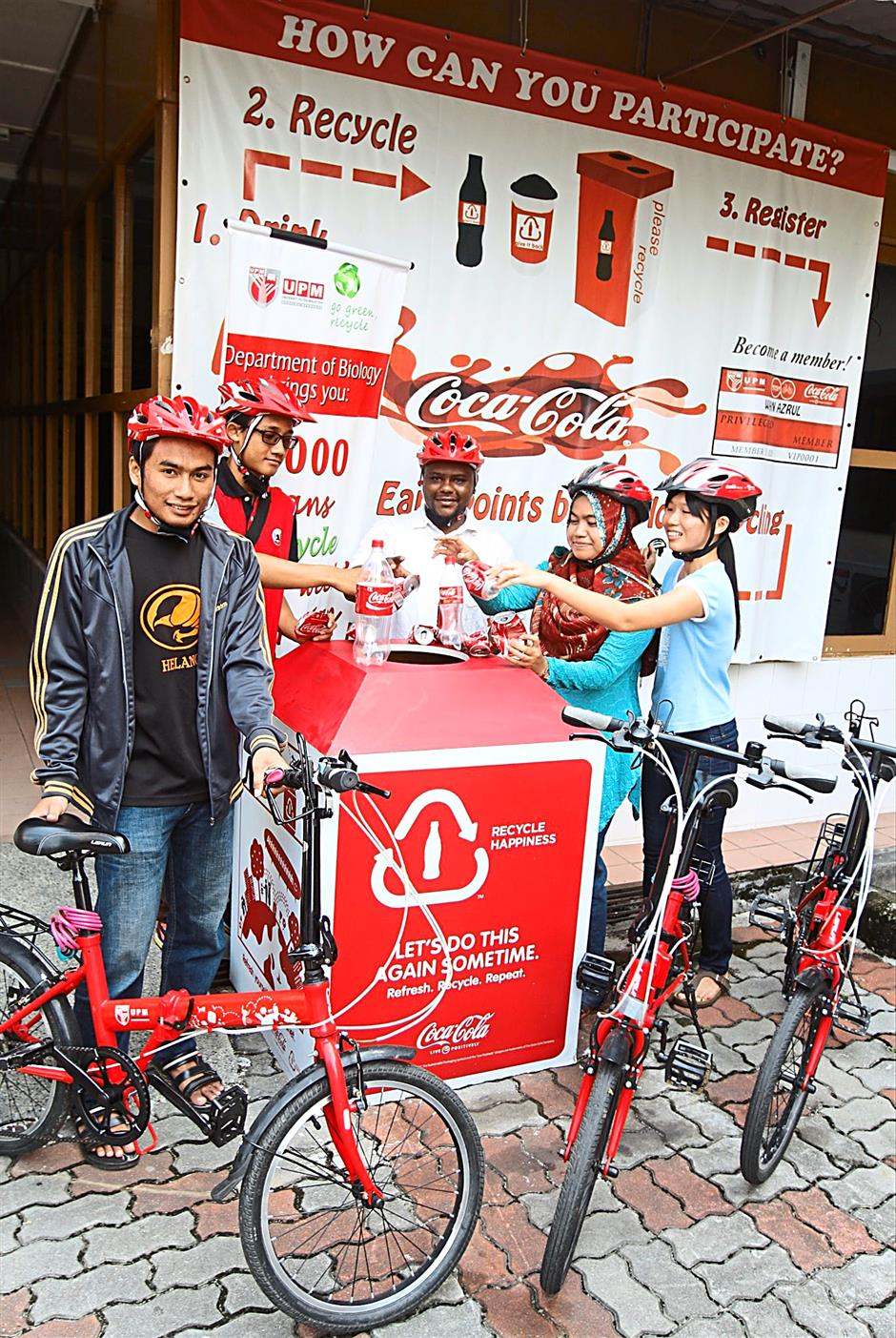 Dual purpose: The Recycle-to-Cycle project provides students and staff members of Universiti Putra Malaysia free use of bicycles whenever they recycle.