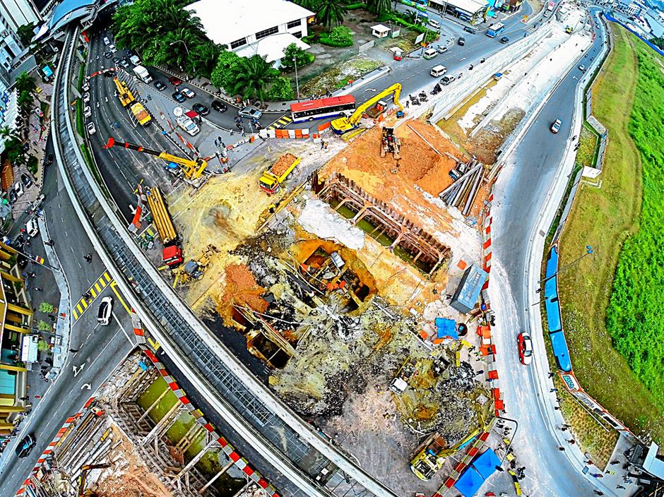 A view of the underground tunnel at the Jalan Pudu-Hang Tuah intersection in Kuala Lumpur that collapsed early this month, captured with The Star's own drone.