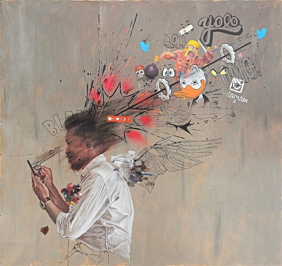 Be careful how you use it: 'Leka' depicts a phone user getting his head blown off by an imaginary gun.