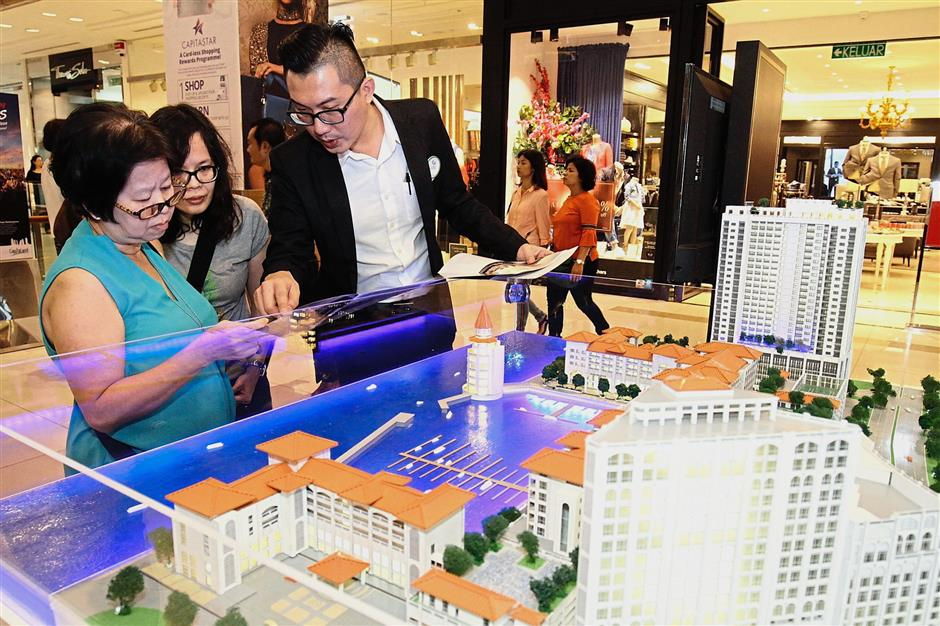 The model of Straits Residences by Kerjaya Prospek Property Sdn Bhd at the fair.