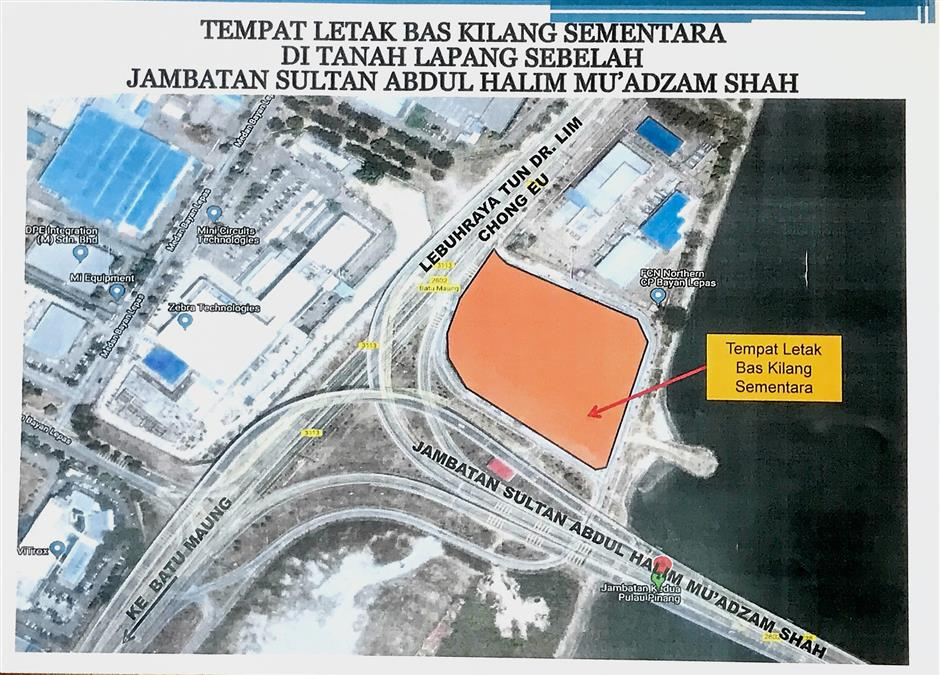 The two proposed parking plots for factory buses are near the second Penang bridge (left) and in Batu Maung.