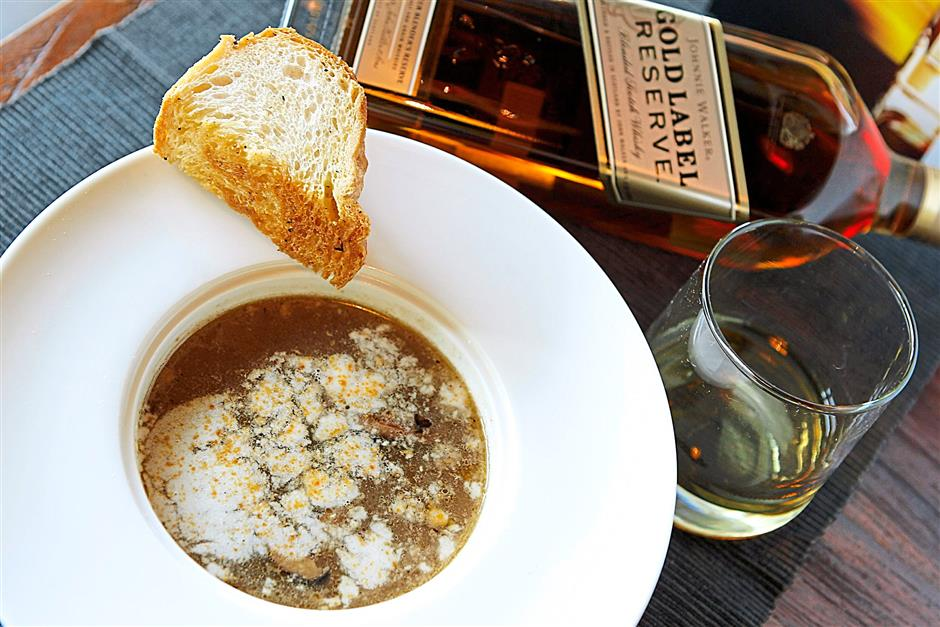The Spiced Oxtail Cappuccino soup was paired with Johnnie Walker Gold Label Reserve