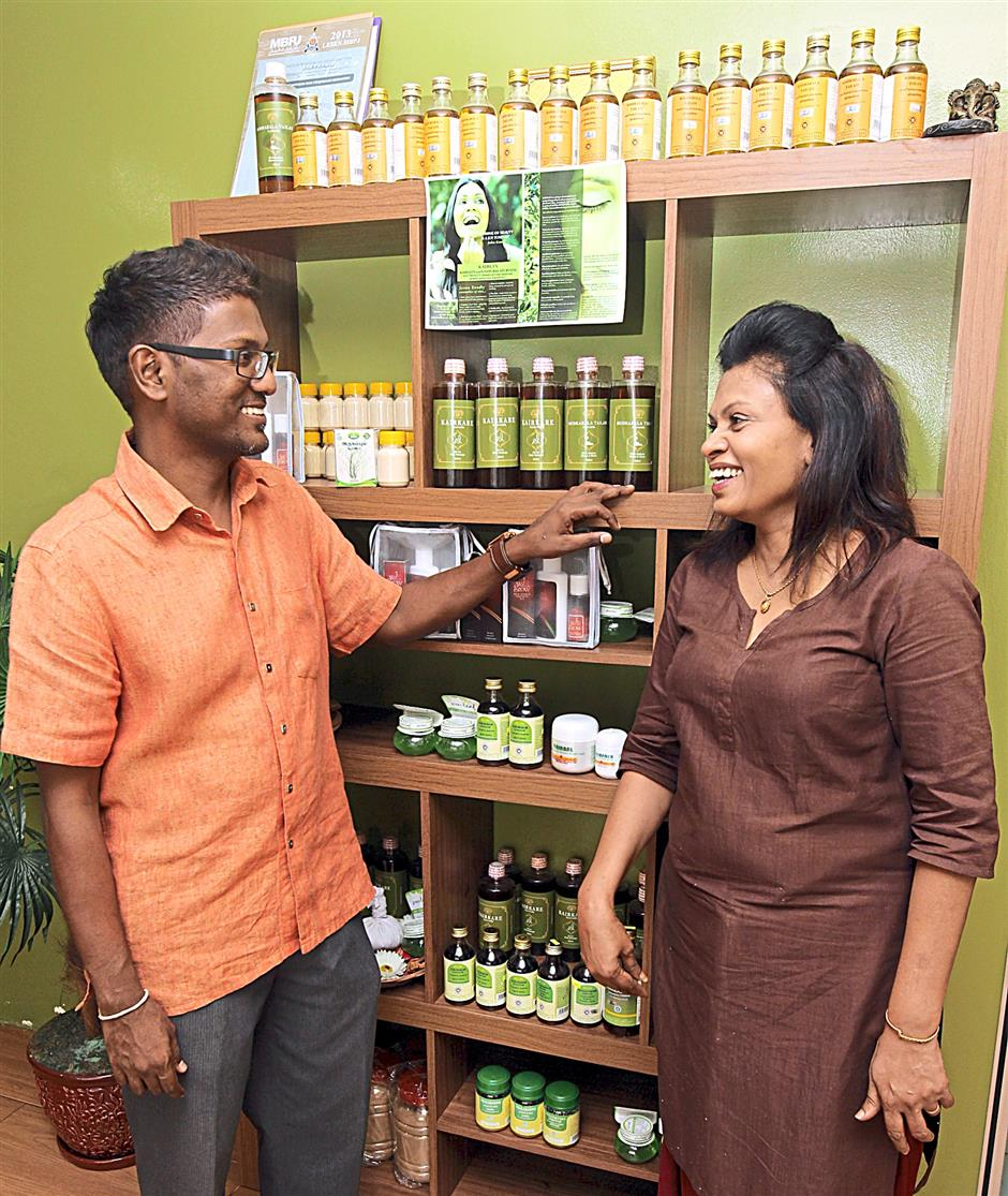 All the oils and herbs used at Kairali Herbals are flown in from India, say the directors.
