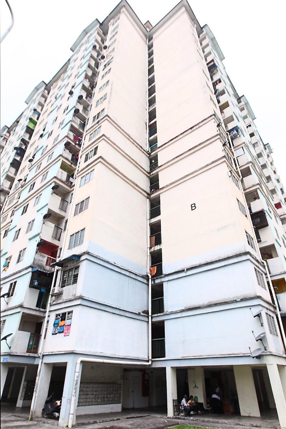 Tragic incident: Block B of the Kota Damansara PPR flats, where the five-year-old boy fell from the sixth floor.