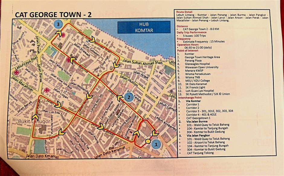 A map of the CAT George Town 2 routes which cover Komtar, Penang Plaza, heritage area, Menara KWSP, Wisma TNB, schools and hospitals.