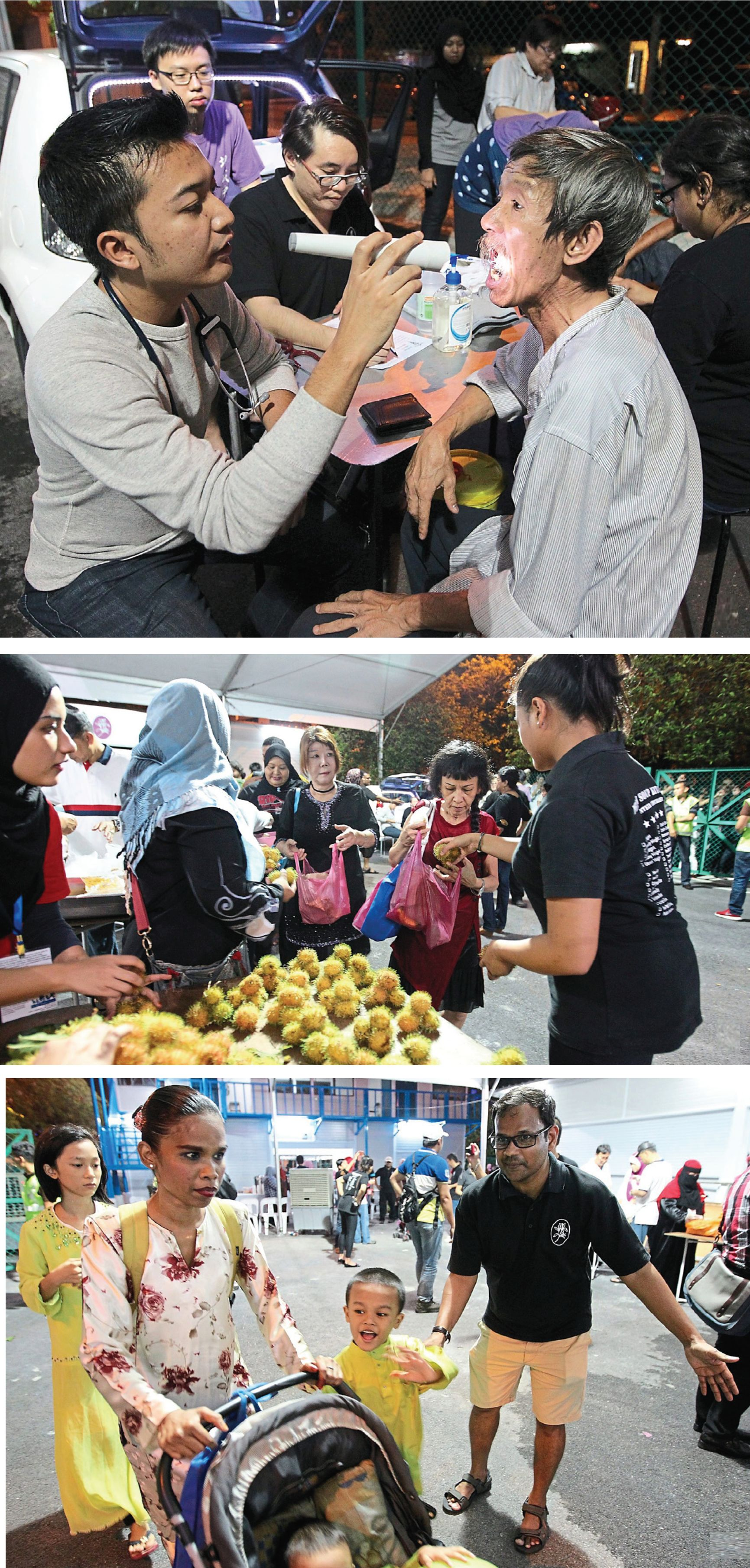 (From top) Dr Mohd Khairul Anwar Adan (left) examining the health of a homeless person at the event. Seated opposite the man is Dr Tan; Pertiwi Soup Kitchen volunteers distributing rambutan to their guests; Barathi (right) ushering their street friends to the event.