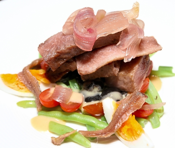 Smoked Tuna with Kampung Egg, Pickled Red Onions and Nicoise Salad.