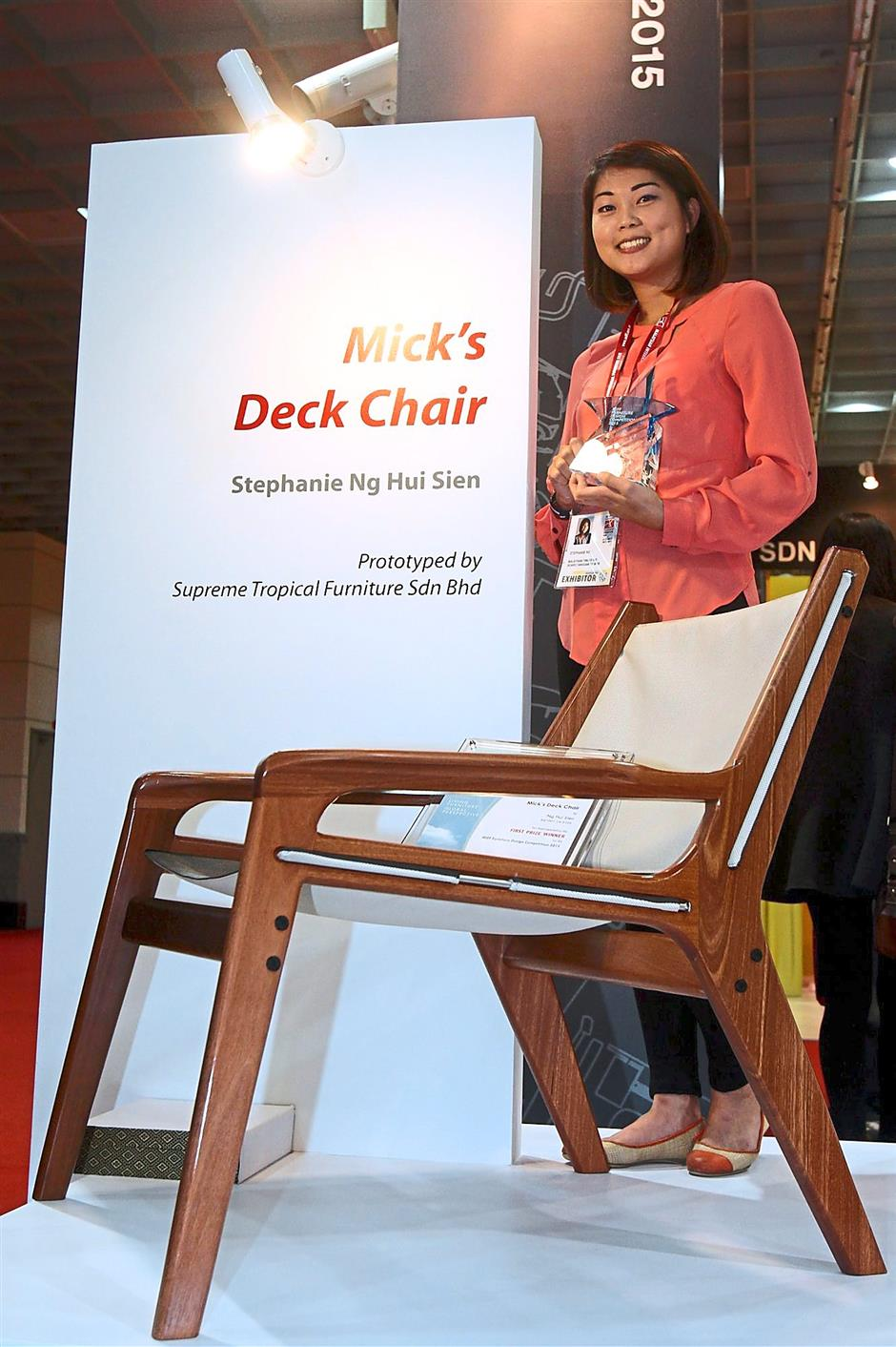 First-prize winner: Ng with her award-winning design called 'Mick's Deck Chair'.