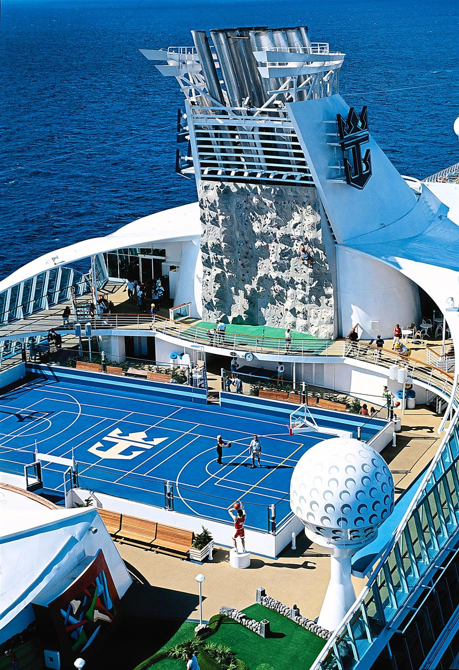 Sporty types can choose rock climbing, basketball or the mini-golf.