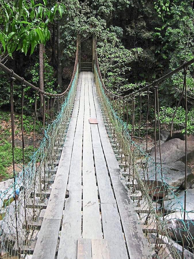 The suspended bridge in the Sungai Pandan waterfall near Kuantan.