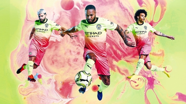 Vibrant: Manchester Cityu2019s third kit which was launched in China on Sunday.