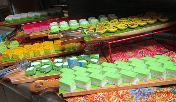 An array of Malay kuih for the Ramadan buffet dinner.