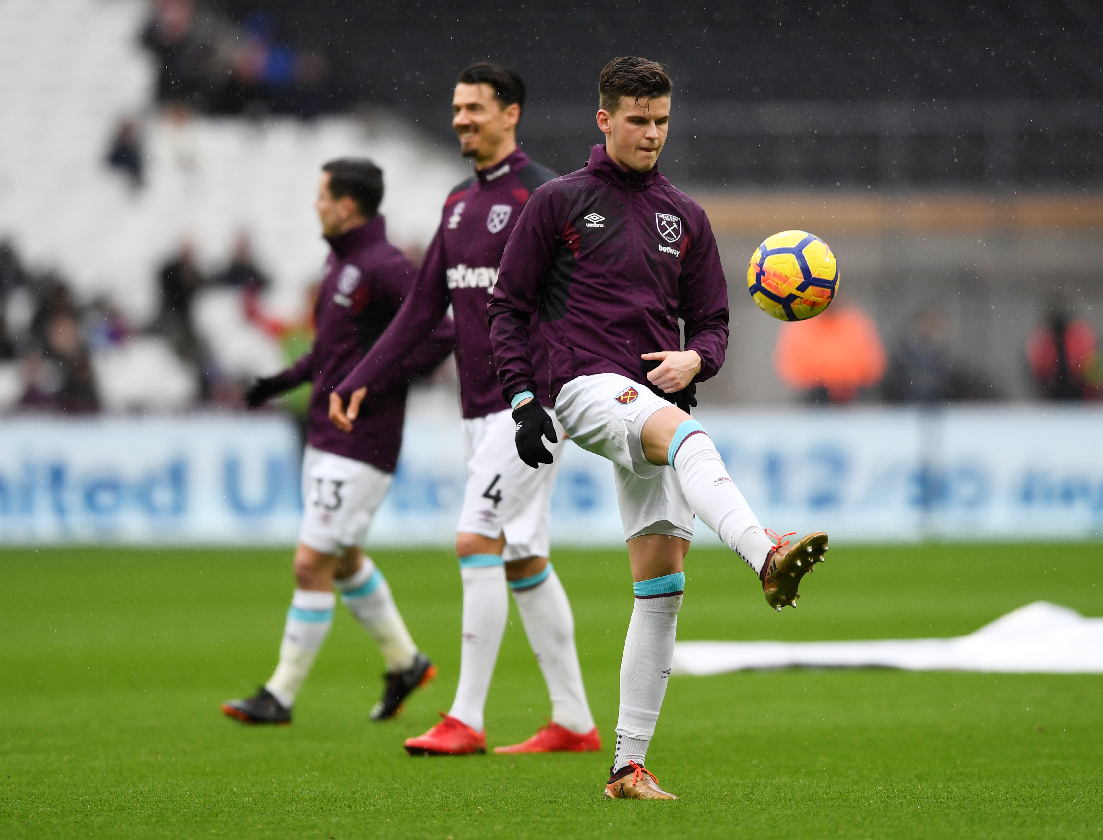 FILE PHOTO: Soccer Football - Premier League - West Ham United vs Watford - London Stadium, London, Britain - February 10, 2018   West Ham United's Sam Byram warms up before the match    Action Images via Reuters/Tony O'Brien
